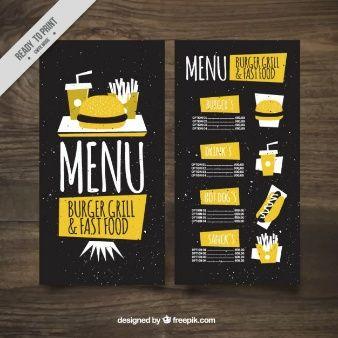 menu de bar burguer amarela do vintage