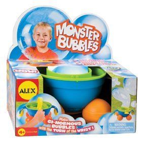 Alex Toys Monster Bubbles by Alex. $11.99. Monster bubbles are great for parties and festivals. Comes with bubble machine and 4oz of with tear free bubble solution. Tear free bubble solution is non-toxic and will not hurt children's eyes. Monster bubbles are great for indoor and outdoor use. Monster Bubbles makes the biggest bubbles you have ever seen. From the Manufacturer                Alex, Monster Bubbles makes humongous Bubbles. Simply add the bubble solu...