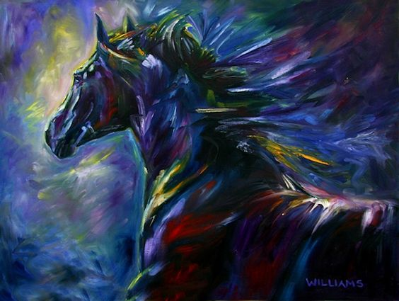 Black Horse - By Equine Artist Diane Williams