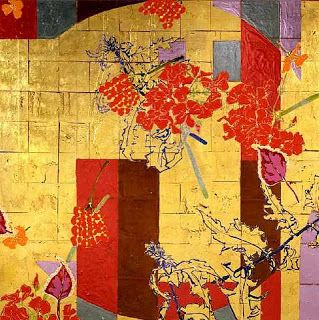 Robert Kushner, Red Flower Scatters (2006) acrylic, glitter, gold leaf on canvas