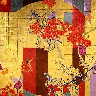 Robert Kushner, Red Flower Scatters (2006) acrylic, glitter, gold leaf on canvas