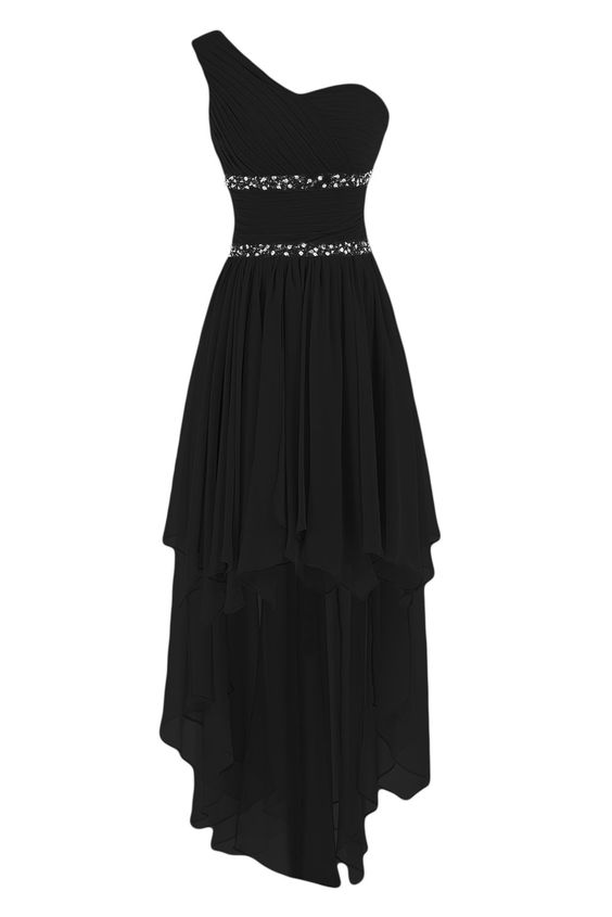 Sunvary One Shoulder High Low Chiffon Bridesmaid Dresses Homecoming Gowns for Juniors Prom Evening Dress US Size 2- Black