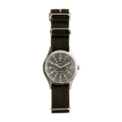 J. Crew Timex® military watch, $150. For men (but I like it) with interchangeable straps for $ 24 each (I like the navy and orange straps best)