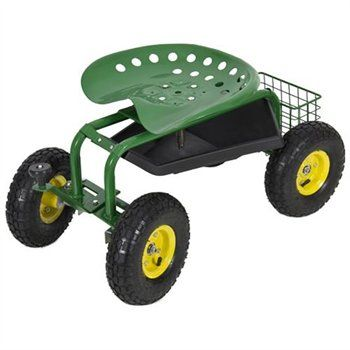 Garden Cart Rolling Work Seat with HD Tool Tray $69.95 Free Shipping | eSalesInfo.com