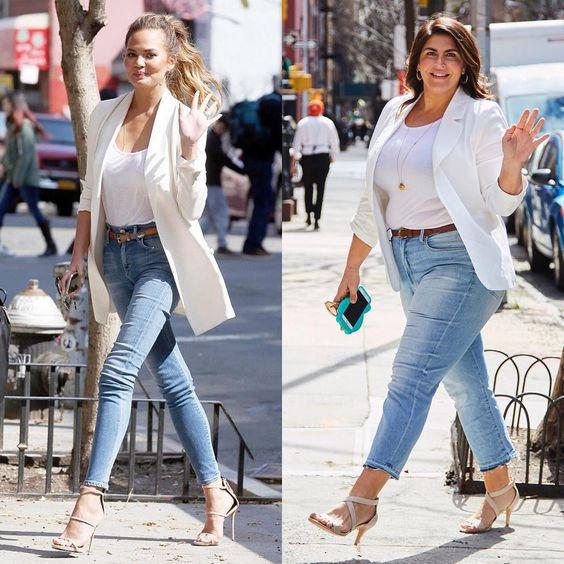T-shirt basica, blazer e jeans compõem o hi-lo chic na medida.