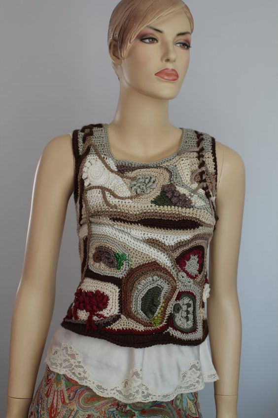 This is an exclusive Sweater , performed in technique Freeform.    Material: cotton, acrylic, viscose, linen, beads Bust : up 88 cm - 35  Length : 46