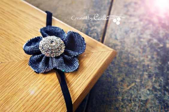 Denim Flower Elastic Headband. 14 inches