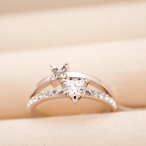 Heart & Leaf Crystal Alloy Plated 18K Gold Womens Rings