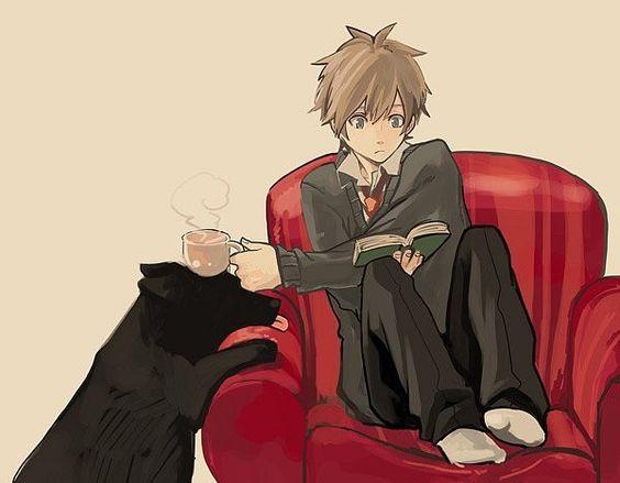 Anime Characters Reader : Anime boy tea dog pet reading book