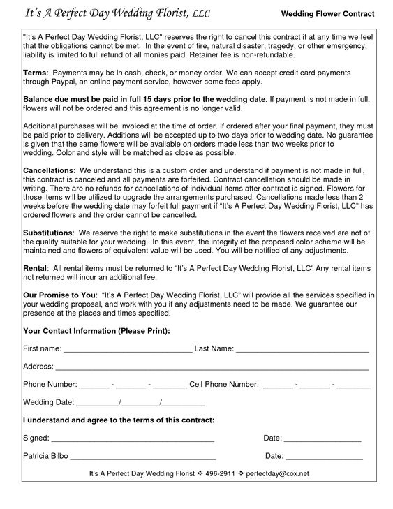Wedding Photography Contract Business Forms Flowers Editable