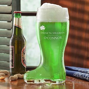 Hahaha ... they call this the Drink 'Til Yer Green© Personalized Beer Boot! Perfect for St. Patrick's Day parades and parties!: