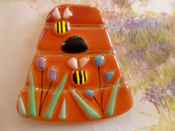 Fused glass Bee Hive tile  Bees and flowers  by morethanmosaic, £7.50