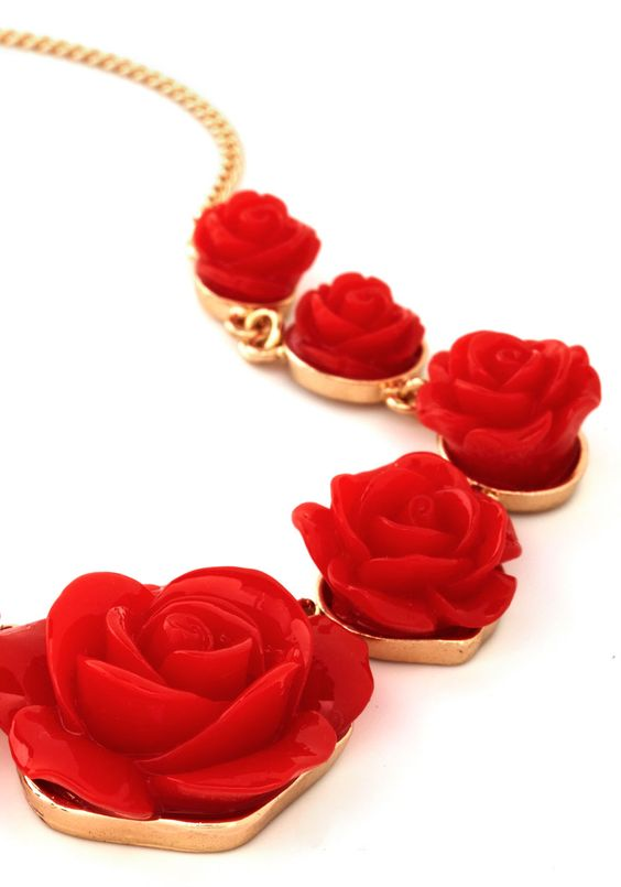Bead of Roses Necklace. The livin is chic and easy when this rose-decked necklace gracefully accessorizes your elegant ensembles! #red #modcloth