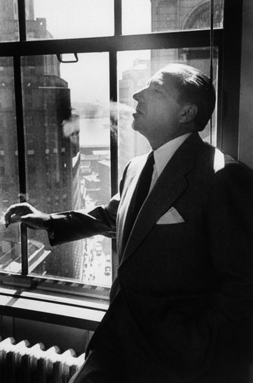 Mobster Frank Costello enjoying a cigarette— he claims to have retired completely from the racket except for owning the Beverly Club outside New Orleans, 1949.