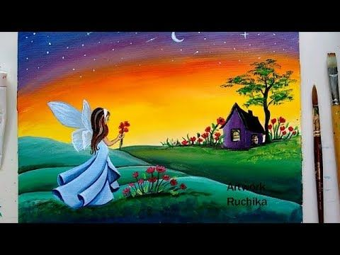 Fairy In Wonderland Painting Acrylic Painting Tutorial Easy Landscape Painting Yout Acrylic Painting Tutorials Easy Landscape Paintings Scenery Paintings