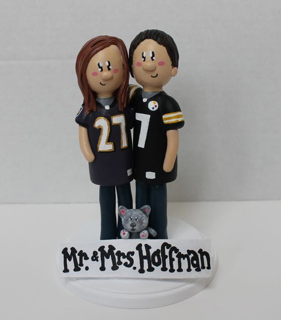 Custom wedding cake topper: Steelers and Ravens - Sam. $125.00, via Etsy.