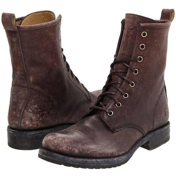 Frye Veronica Combat (Dark Brown Stone Wash) Women's Lace-up Boots (910 BRL) ❤ liked on Polyvore featuring shoes, boots, ankle booties, footwear, botas, ankle boots, lace up combat boots, lace up bootie, frye boots and leather boots