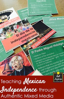 Teaching Mexican Independence Day with Authentic Mixed Media - for Beginning Spanish Middle & High School - By Sol Azúcar