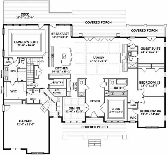 Overall Square Footage Needs To Be Less But Want To Make Guest Suite In Back A Little Bigger Third Garage Space New House Plans House Plans Dream House Plans