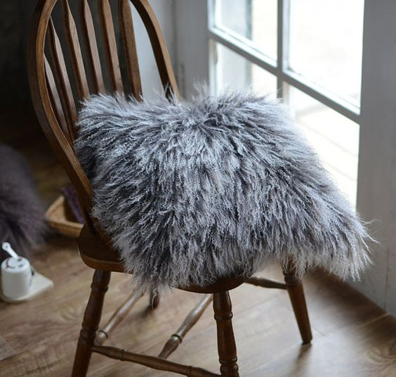 Tibetan/Mongolinan lamb fur Pillow Case Frosted Grey by TibetCode, $85.00