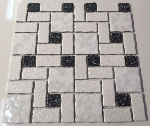2 1 4 Block Random Glazed Mosaic Tile Kbr 409 White Black Mosaic Tiles Ceramic Mosaic Tile Mosaic