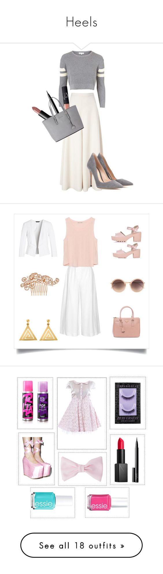 """""""Heels"""" by brooklynbeauty18 ❤ liked on Polyvore featuring Topshop, Temperley London, Gianvito Rossi, NARS Cosmetics, Michael Kors, cream, grey, culottes, Quckie and Proenza Schouler"""