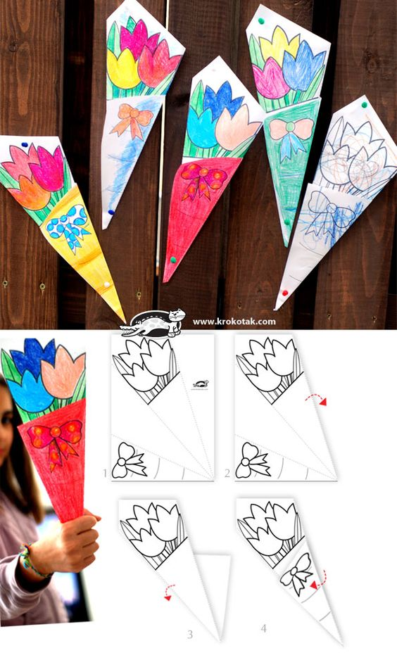 Paper BOUQUET for Mother's Day - such a cute idea! Let your kids create one bouquet, then send another one to your sponsored child to color for his/her mom