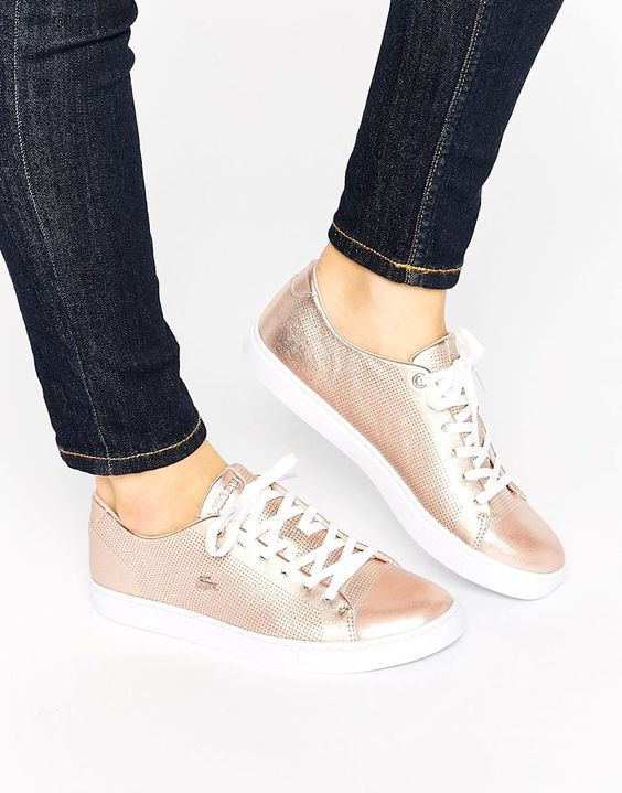 Image 1 ofLacoste Showcourt Lace 2 Rose Gold Leather Trainers