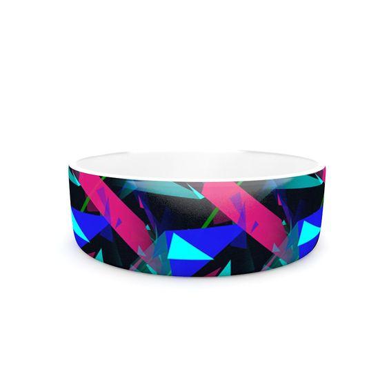 """Alison Coxon """"Confetti Triangles Dark"""" Magenta Blue Pet Bowl"""