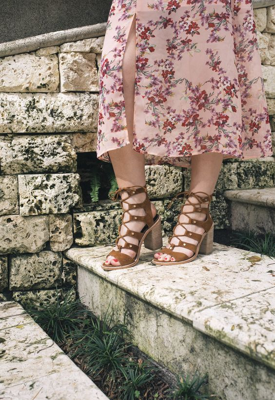 pink floral maxi dress with slits, brown lace up gladiator heels