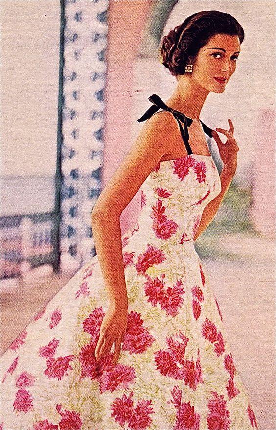 1957 floral evening dress
