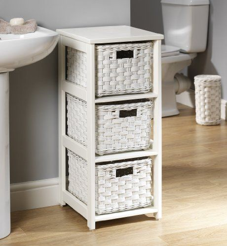 White Bathroom Storage Baskets Newport White Freestanding 3 Drawer Basket Storage Unit Wicker
