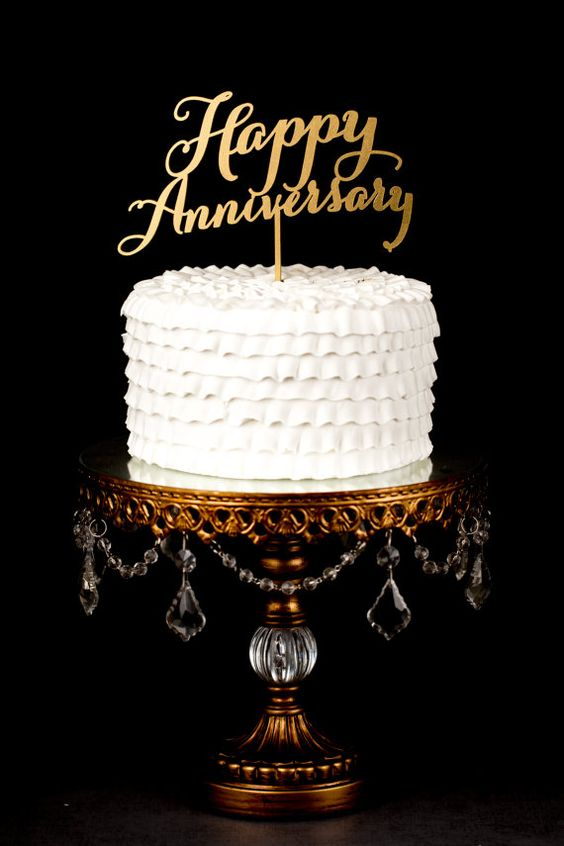 Happy Anniversary Cake Topper By Betteroffwed On Etsy
