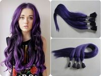 "20"" Purple I tip hair extensions/Fusion hair keratin extension use Best Italian keratin glue for fashion women Hair Extensions"