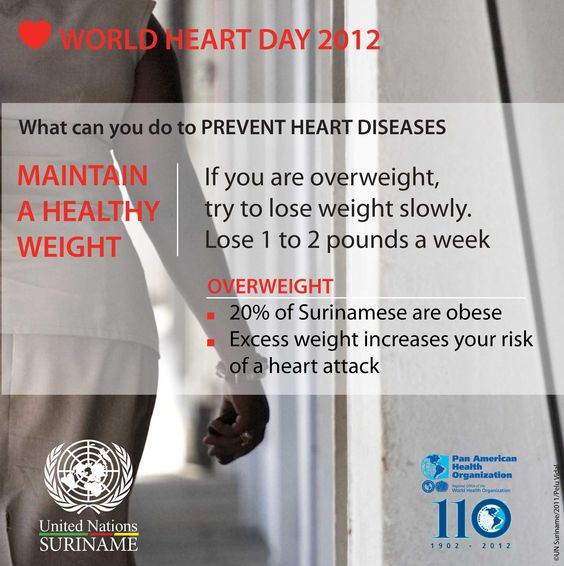 20% of Surinamese are obese. Excess weight increases your risk for a heart attack. On World Heart Day, we recommend you to start making lifestyle changes to maintain a healthy weight.  http://sr.one.un.org/health/