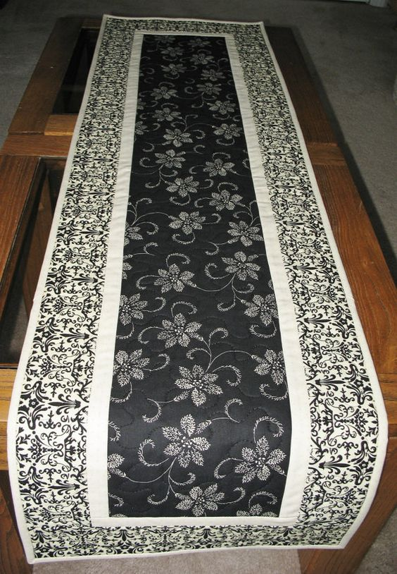 Elegant Table Runner Quilted Fabric From Timeless