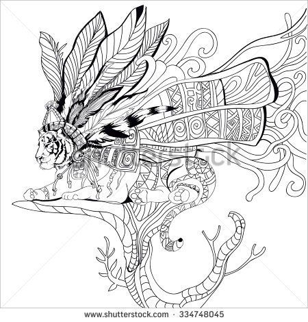 stock-vector-hand-drawn-aztec-tiger-adult-coloring-book-coloring-page-isolated-on-white-334748045.jpg (450×470)