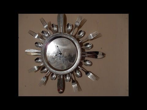 como hacer un reloj con cubiertos y plato desechable - reciclable - YouTube