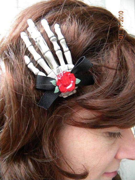 Psychobilly Zombie Rose Hair Clip Barrette by billiesandbetties, $6.00
