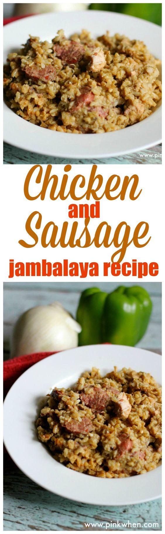 A delicious cajun dish! Chicken and Sausage Jambalaya recipe. YUM!