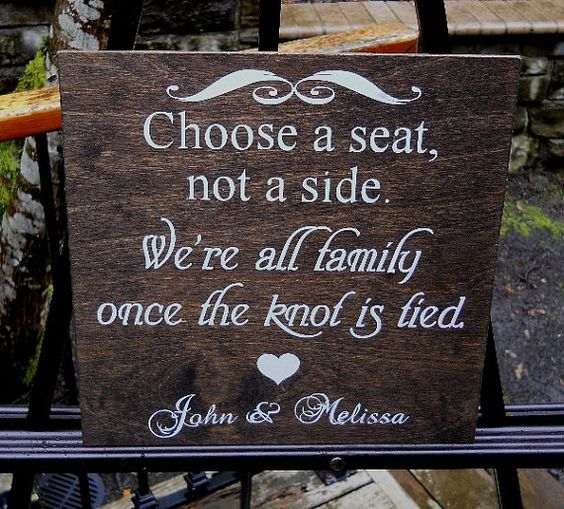 Choose A Seat Not A Side Sign Rustic Wedding Sign Country Outdoor Garden Winery Wedding