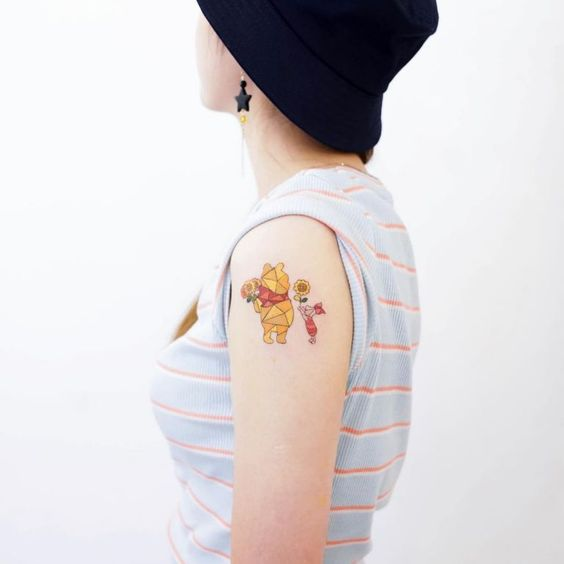 Winnie The Pooh And Piglet Tattoo By HK Zada Lam #tattoo #tattoos #tattooideas #tattoodesigns