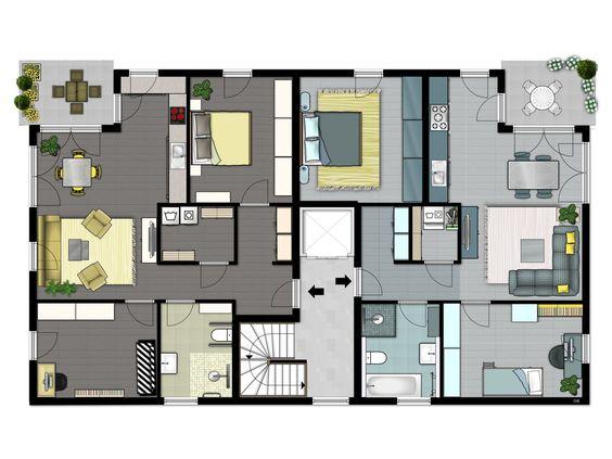 Doppelhaus Grundriss, Einrichtungsvorschlag
