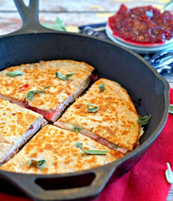 Use Thanksgiving leftovers to make this quesadilla.