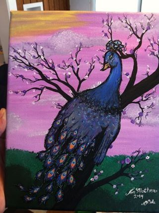 Peacock hand painting