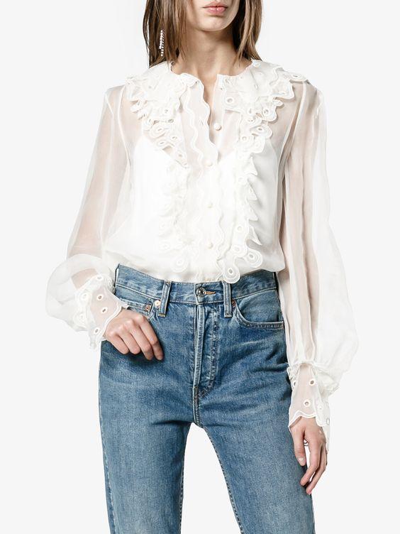 Chloé прозрачная блузка с рюшами