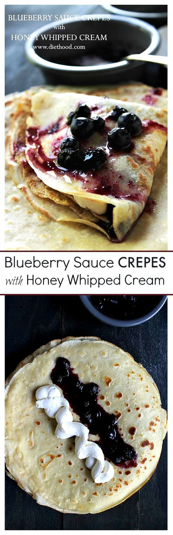 blueberry sauce whipped cream crepes blueberries honey sauces cream ...