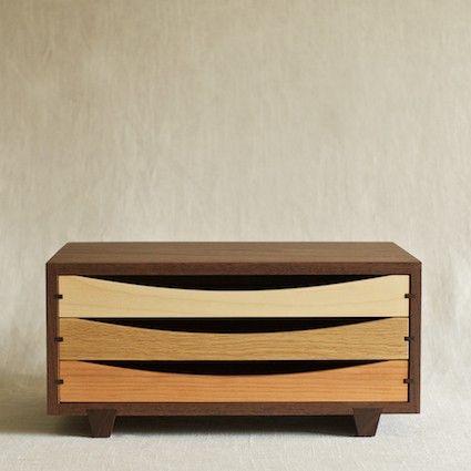 Tricolor Wood Desktop Chest