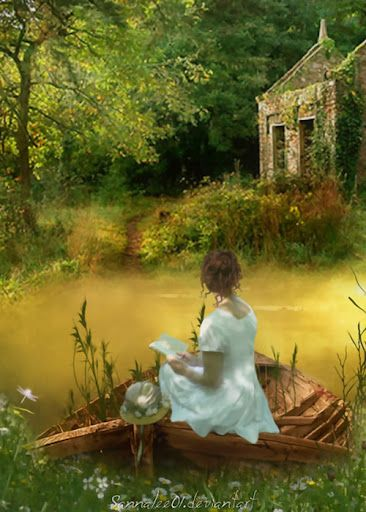 """Reading by the Lake        *** ((RaeNell ponders awhile, looks up from her book at the old building. """"I'm going to paint that someday,"""" she says to herself...""""Someday, I'll bring a sketch pad and some pencils.  I'll draw it out and from memory fill in the open spaces with paint."""""""