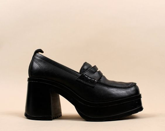 early 90s Monster Platform Oxford Chunky Heel Penny Loafers / Wms ...